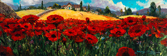 Fields of Red and Gold by James Coleman at Wyland Galleries of the Florida Keys