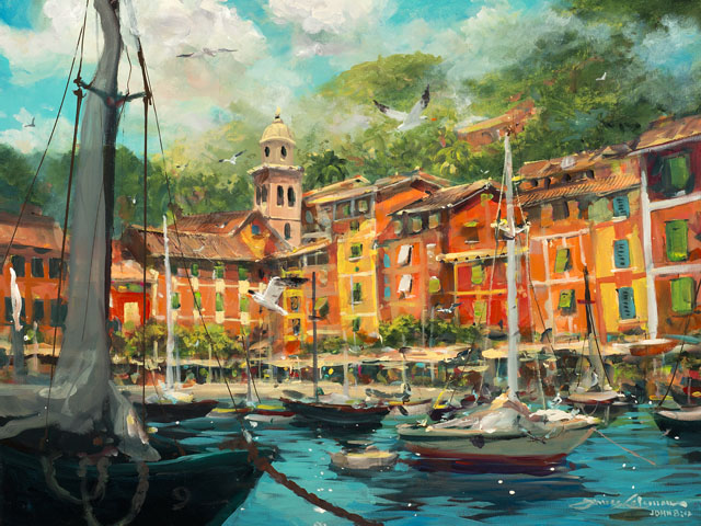 Reflections of Portofino by James Coleman at Wyland Galleries of the Florida Keys