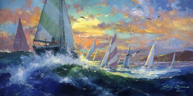 Sunset Regatta by James Coleman at Wyland Galleries of the Florida Keys