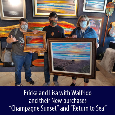 Ericka and Lisa with Walfrido and their New purchases Champagne Sunset and Return to Sea at Wyland Gallery Sarasota